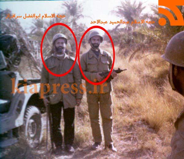 عکس پدر بزرگوار محمد سر افراز در جبهه های نبرد بهمراه حجه السلام عبدالحمید عبدالاحد
