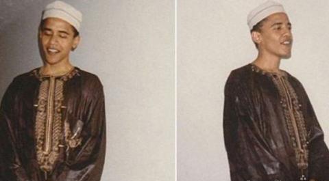 """""""اوباما""""را با لباس رسمی مسلمانان ببینید"""