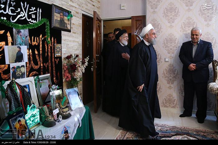 دیدار روحانی باخانواده شهید بهمنی