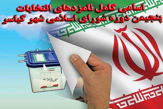 اسامی کامل نامزدهای انتخابات پنجیمن دوره شورای اسلامی شهر کیاسر