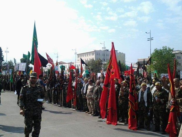 تجمع ۳۰ هزار نفری بسیجیان مازندران در ساری