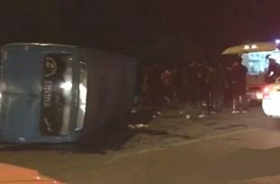 واژگونی مینیبوس در جاده ساری ـ قائمشهر ۱۴ مصدوم بر جای گذاشت
